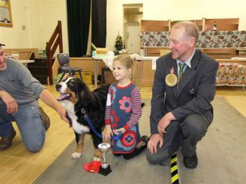 Mrs J Evan's Mack winner of Best Bernese Puppy at the Central Bernese Mountain Dog Club Christmas Fun Day 2013